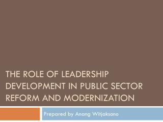 The Role of Leadership Development in Public Sector Reform and Modernization