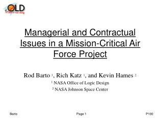 Managerial and Contractual Issues in a Mission-Critical Air Force Project