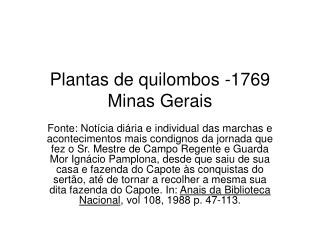 Plantas de quilombos -1769 Minas Gerais