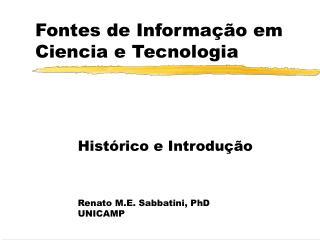 Fontes de Informação em Ciencia e Tecnologia
