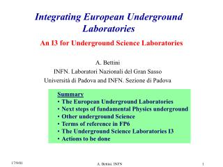 Integrating European Underground Laboratories
