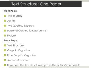 Text Structure: One Pager
