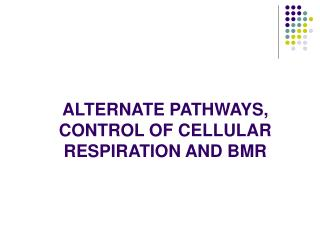 ALTERNATE PATHWAYS, CONTROL OF CELLULAR RESPIRATION AND BMR