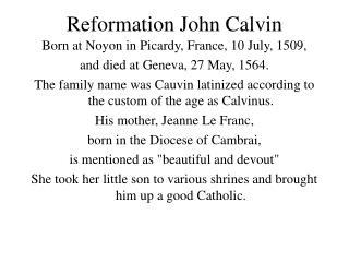 Reformation John Calvin