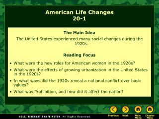 American Life Changes 20-1