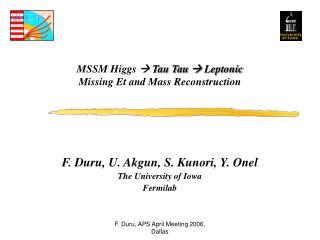 MSSM Higgs    Tau Tau   Leptonic Missing Et and Mass Reconstruction