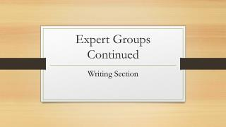 Expert Groups Continued