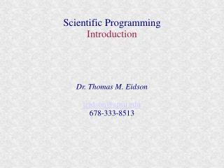 Scientific Programming  Introduction