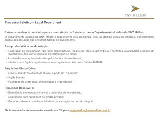 Processo Seletivo – Legal  Department