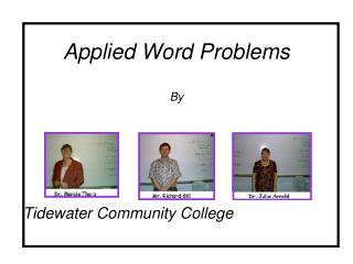 Applied Word Problems  By
