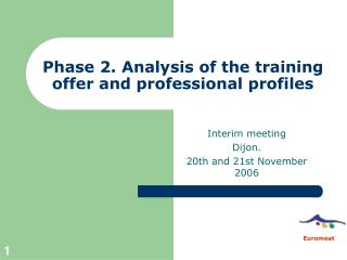 Phase 2. Analysis of the training offer and professional profiles