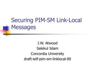 Securing PIM-SM Link-Local Messages