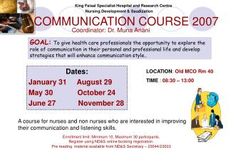COMMUNICATION COURSE 2007