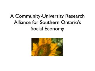A Community-University Research Alliance for Southern Ontario's Social Economy