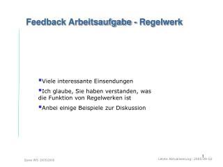 Feedback Arbeitsaufgabe - Regelwerk