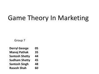 Game Theory In Marketing