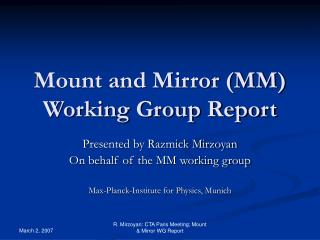 Mount and Mirror (MM) Working Group Report