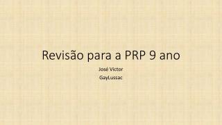 Revisão para a PRP 9 ano