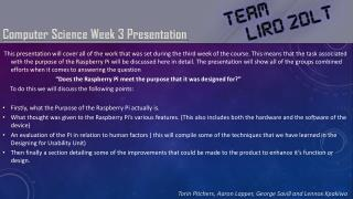 Computer Science  Week 3 Presentation