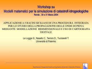 Workshop su Modelli matematici per la simulazione di catastrofi idrogeologiche