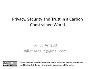 Privacy, Security and Trust in a Carbon Constrained World