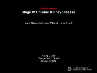 Clinical Practice Stage IV Chronic Kidney Disease