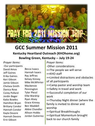 GCC Summer Mission 2011 Kentucky Heartland Outreach (KHOhome)