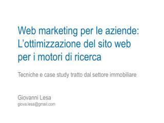 Web marketing per le aziende: L'ottimizzazione del sito web per i motori di ricerca