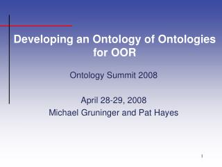 Developing an Ontology of Ontologies for OOR