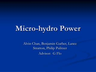 Micro-hydro Power