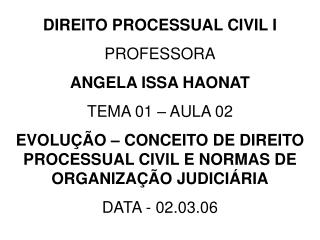 DIREITO PROCESSUAL CIVIL I PROFESSORA ANGELA ISSA HAONAT TEMA 01 – AULA 02