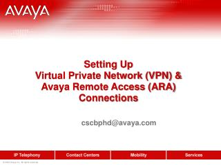 Setting Up  Virtual Private Network (VPN) &  Avaya Remote Access (ARA) Connections