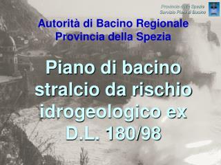 Piano di bacino stralcio da rischio idrogeologico ex D.L. 180/98