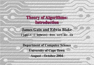 Theory of Algorithms: Introduction