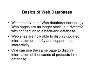 Basics of Web Databases