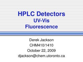 HPLC Detectors UV-Vis Fluorescence