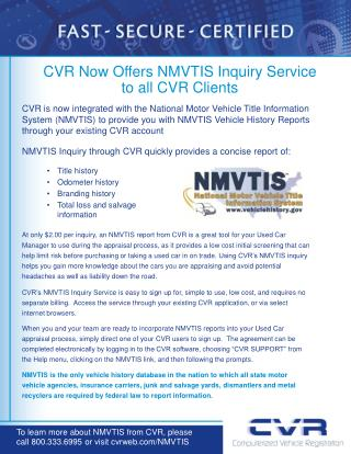 CVR Now Offers NMVTIS Inquiry Service  to all CVR Clients