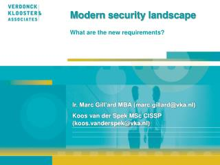 Modern security landscape