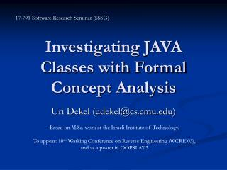 Investigating JAVA Classes with Formal Concept Analysis