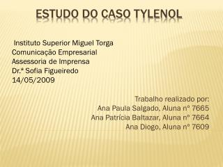 Estudo Do CASO  tylenol