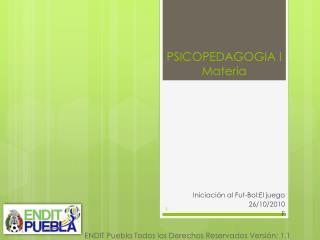 PSICOPEDAGOGIA I Materia