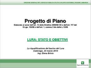 Progetto di Piano Elaborato ai sensi dell'art. 13 della Direttiva 2000/60 CE e dell'art. 117 del