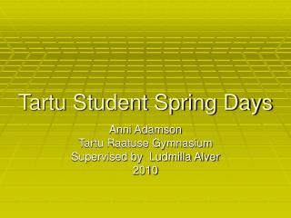 Tartu Student Spring Days