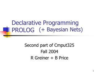 Declarative Programming PROLOG