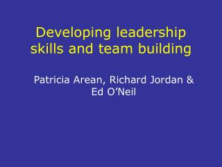 Developing leadership skills and team building