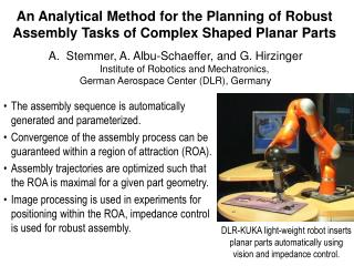An Analytical Method for the Planning of Robust Assembly Tasks of Complex Shaped Planar Parts