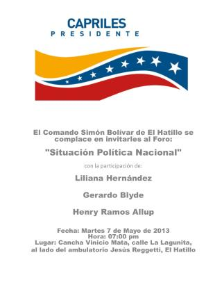 INVITACIÓN FORO CSB EL HATILLO