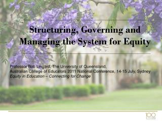 Structuring, Governing and Managing the System for Equity