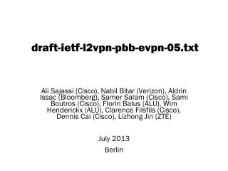 draft-ietf-l2vpn-pbb-evpn - 05 . txt
