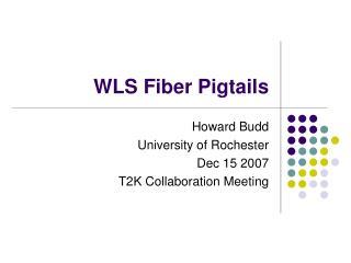 WLS Fiber Pigtails